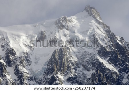 view of the northern slopes of the Aiguille du Midi, Chamonix, Alps, France - stock photo
