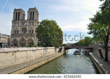View of the Notre Dame church in Paris and the river Senna - France - stock photo
