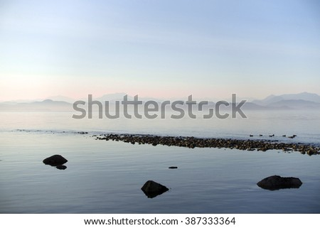 View of the ocean from South-East coast of Quadra Island,BC,Canada.