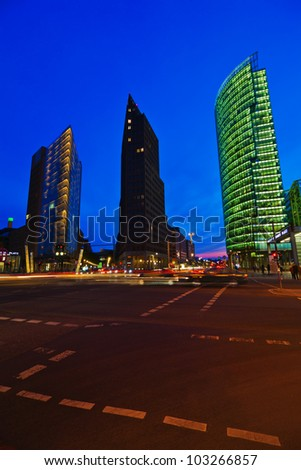 view of the office towers at the Potsdamer Platz in Berlin with blue night sky