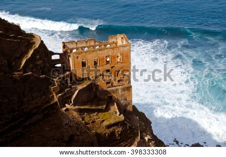 View of the old and abandoned ruin Casa Hamilton in Los Realejos in Tenerife close by the sea  - stock photo