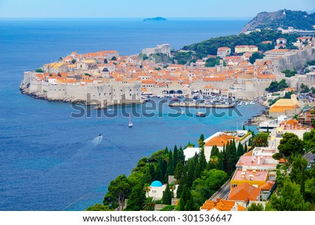 View of the old city and the port, in Dubrovnik, Croatia