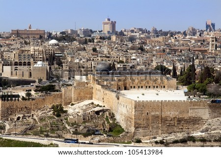 view of the old city and the Temple Mount, Jerusalem, Holy Land - stock photo