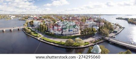 View of the Old City from the observation deck of the Vyborg Castle (St.Olav Tower). - stock photo