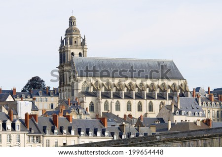 view of the old city of Blois, highlights the St. Louis Cathedral and the Loire river first, Loire Valley, France - stock photo