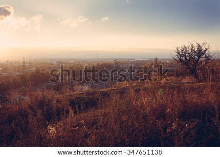 view of the old city of Kiev from height in autumn - stock photo