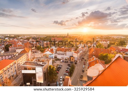 view of the old city of Olsztyn