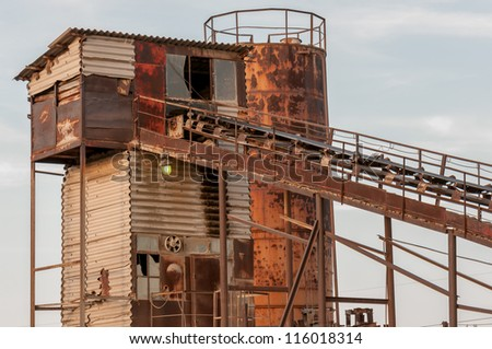 View of the old coal mine - stock photo