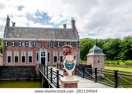 view of the old dutch mansion Menkemaborg - stock photo