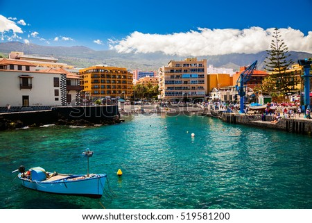 view of the old fishing port with a small beach in Puerto de la Cruz, Tenerife, Spain