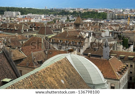 view of the old Geneva with the height of the Cathedral of Saint-Pierre, Switzerland - stock photo