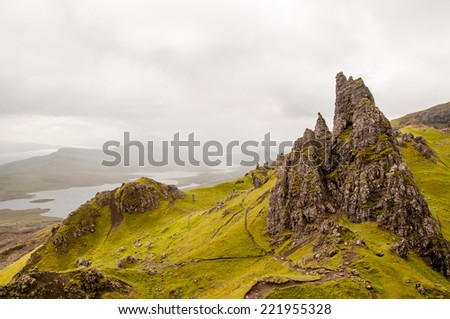 view of the old man of storr, isle of skye, scotland - stock photo
