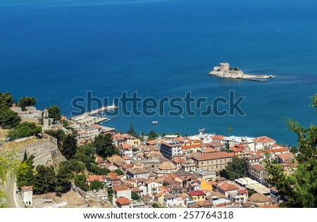 View of the old part of the city of Nafplio from Palamidi castle, Greece - stock photo