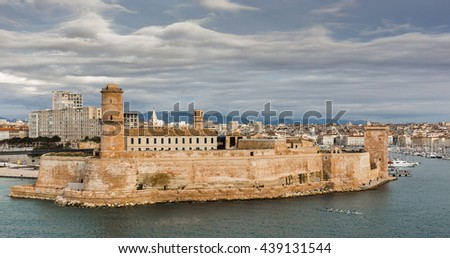 View of the old port and Fort Saint Jean in Marseille, France - stock photo
