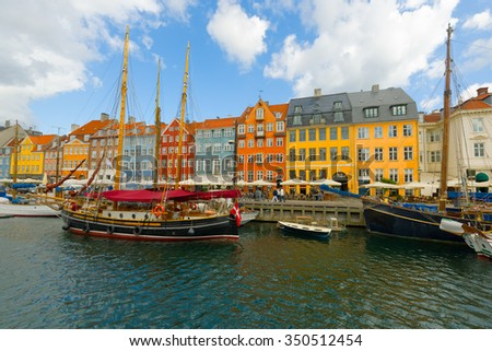 View of the old port in Copenhagen in a summer day