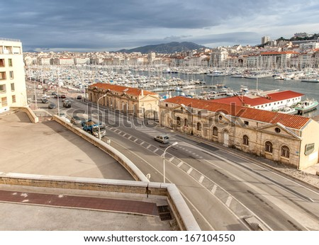 view of the old port of Marseille at dusk - stock photo