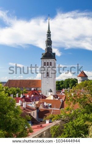 View of the old Tallinn from the highest observation deck and Spire of Saint Nicholas Church