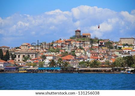 view of the old town, Cunda, Ayvalik, Turkey - stock photo