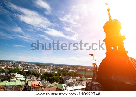 View of the old town of Cracow from Church of Our Lady Assumed into Heaven (St. Mary's Church), Poland. - stock photo