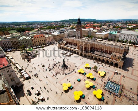 View of the old town of Cracow, old Sukiennice, Poland. (World Heritage Site by UNESCO) - stock photo