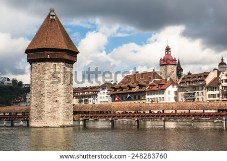 View of the old town of Lucerne, the chapel bridge, Switzerland - stock photo