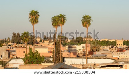 View of the old town of Marrakech in Morocco during sunrise - stock photo