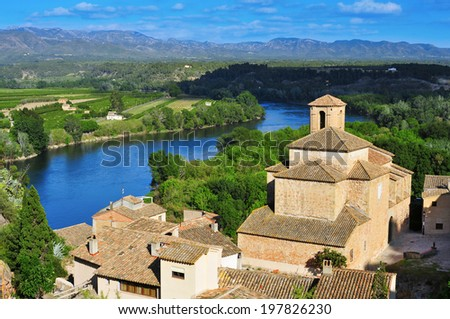 view of the old town of Miravet, Spain, and Ebro River with the Serra de Cardo mountain range in the background - stock photo