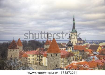 View of the old town. Tallinn, Estonia, Europe - stock photo