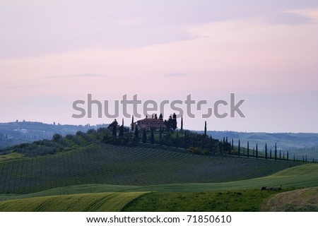 View of the old villa in Tuscany, Italy - stock photo
