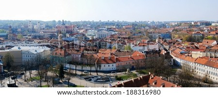 View of the old Vilnius from the tower of church. Lithuania.