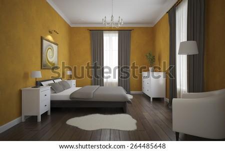 View of the orange bedroom with parquet floor 3D - stock photo