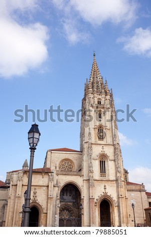 View of the Oviedo's cathedral, Asturias - Spain