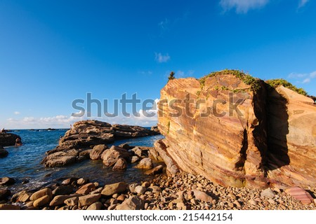 view of the pacific coastline along taiwan north east - stock photo