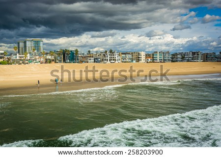 View of the Pacific Ocean and the beach in Venice Beach, Los Angeles, California. - stock photo