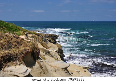 View of the Pacific Ocean as seen along the southern coast of California. - stock photo