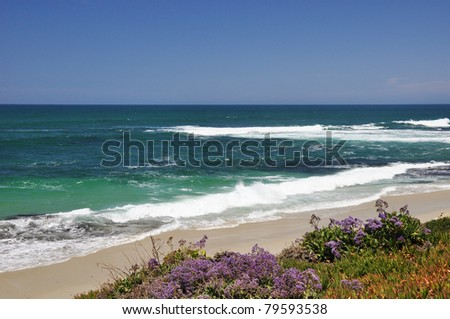 View of the Pacific Ocean as seen from a La Jolla beach in San Diego, California. - stock photo