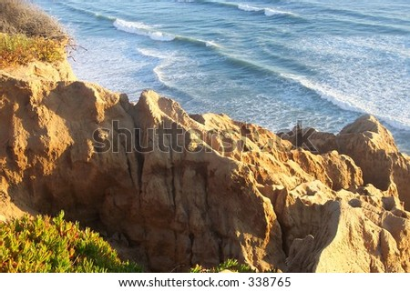 View of the Pacific Ocean from near Razor Point in Torrey Pines State Reserve in San Diego, CA. - stock photo