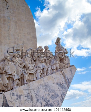 View of the Padrao dos Descobrimentos in Lisbon, Portugal - stock photo