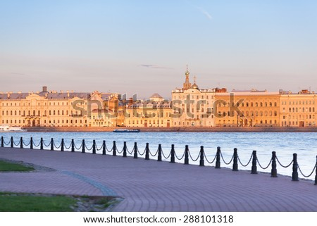 View of the Palace Embankment from Hare Island in St. Petersburg - stock photo
