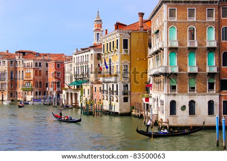 View of the palaces lining the Grand Canal seen from Rialto Bridge, Venice, Italy - stock photo