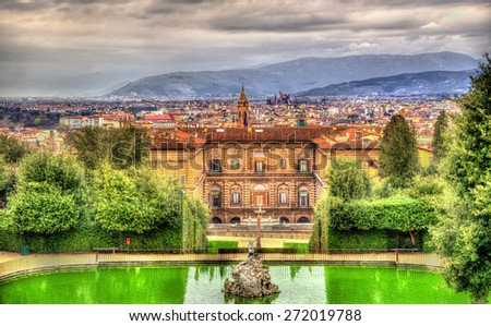 View of the Palazzo Pitti in Florence - Italy - stock photo