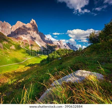 View of the Pale di San Martino mountain range from Rolle pass. Sunny summer landscape in Dolomite Alps. Baita Segantini location, Trentino province, Italy, Europe. - stock photo