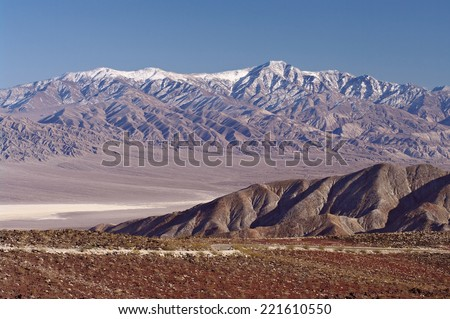 View of the Panamint Mountain Range and Basin in Death Valley National Park in California. - stock photo