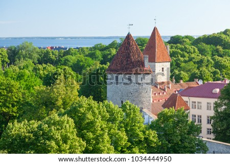 View of the park and two towers of the old Tallinn