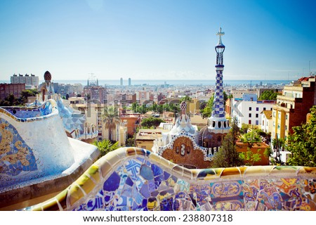 View of the Park Guell , Barcelona - stock photo