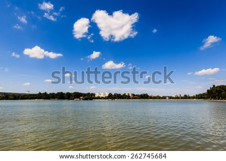 View of the park in Rose Valley in Chisinau, Moldova. - stock photo