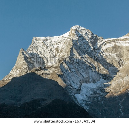 View of the peak Nupla (5885m) from Namche Bazar - Nepal, Himalayas