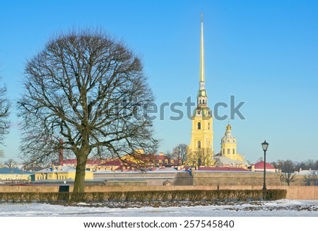 View of the Peter and Paul Cathedral and fortress from the Spit of Vasilyevsky Island Island. St.-Petersburg, Russia - stock photo