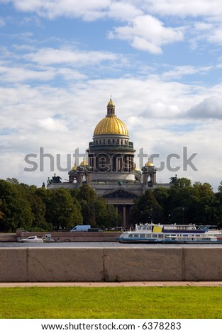 view of the Petersburg's embankment and the Isaac cathedral