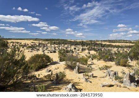 View of the Pinnacles Desert in the Numbung National Park, Australia - stock photo
